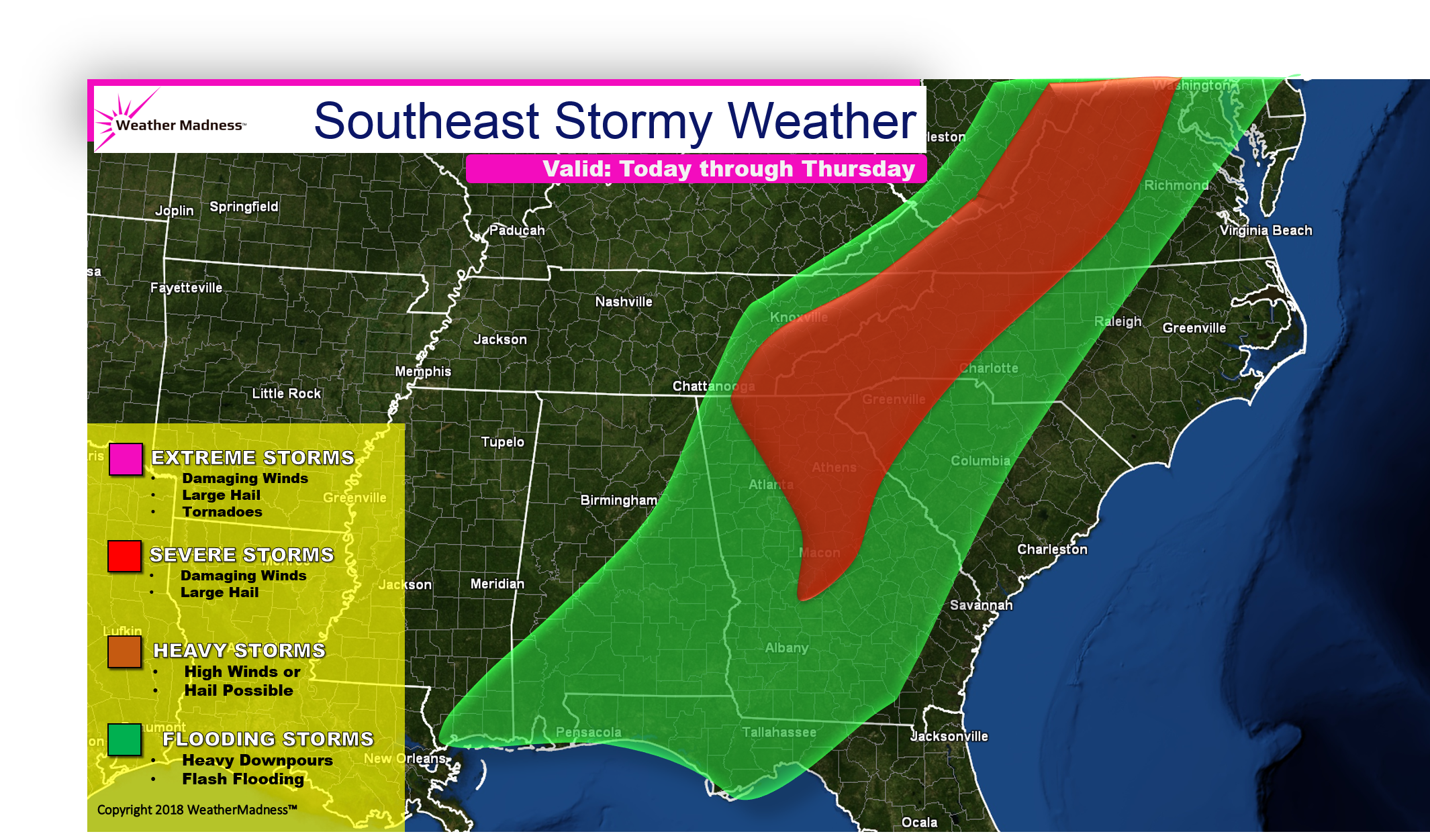 Southeast Storms Bring Wind Damage and Flooding