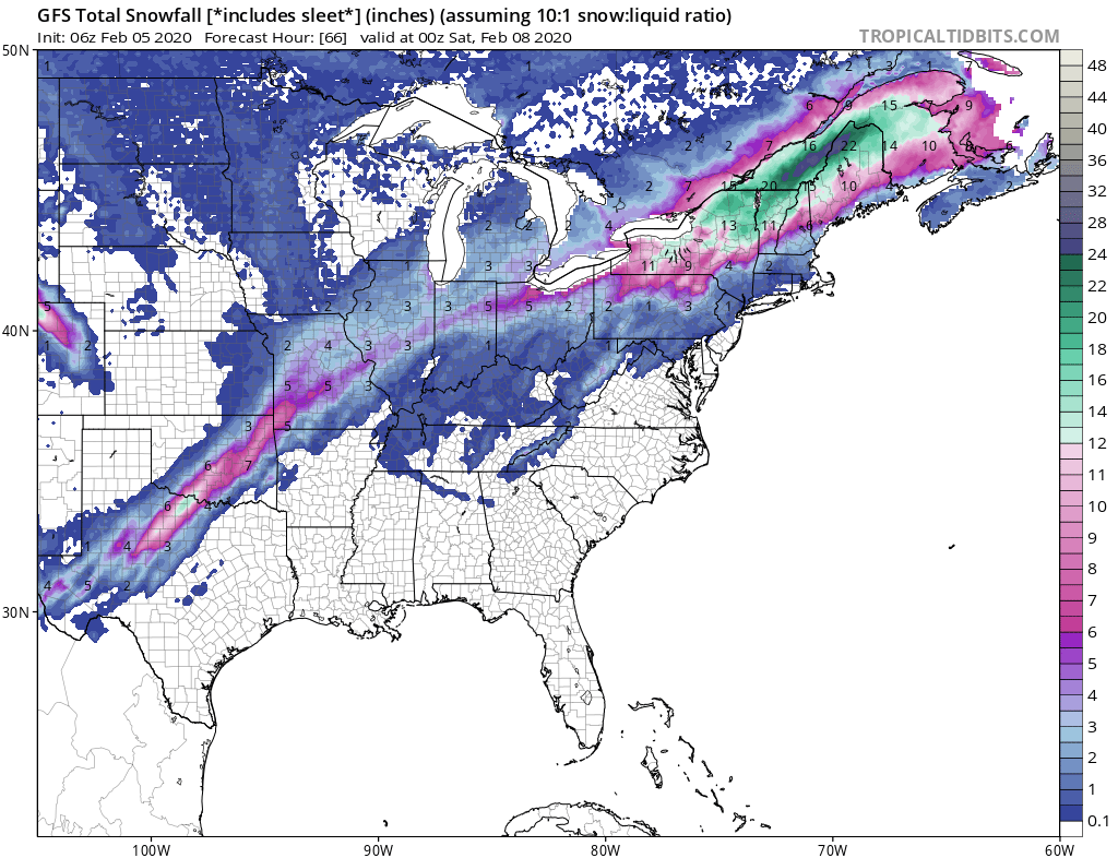 Swath of Snow and Ice from Texas to the Northeast. Just One of Many To Come!