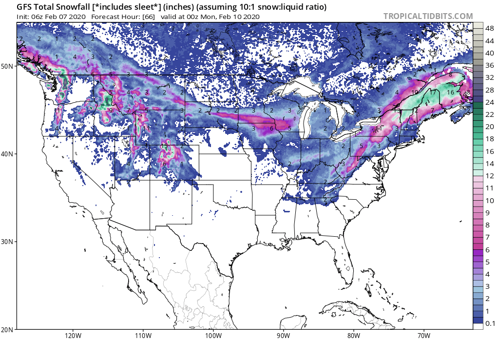 Heavy Snow across the Northeast with over 4 Inches