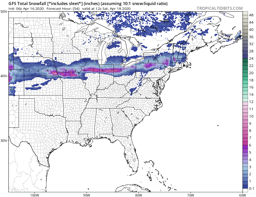 April Snows Streak Across the Country Dumping up to 6 inches!