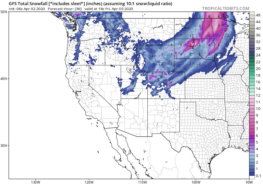 Ocean Storm Backs into the Northeast, Northern Plains has April Snows!