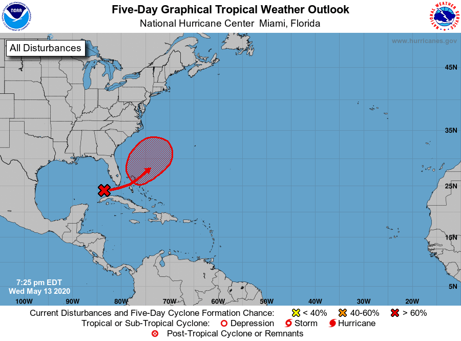 Tropical Storm to Develop this Weekend, May Merge with Coastal Storm Next Week