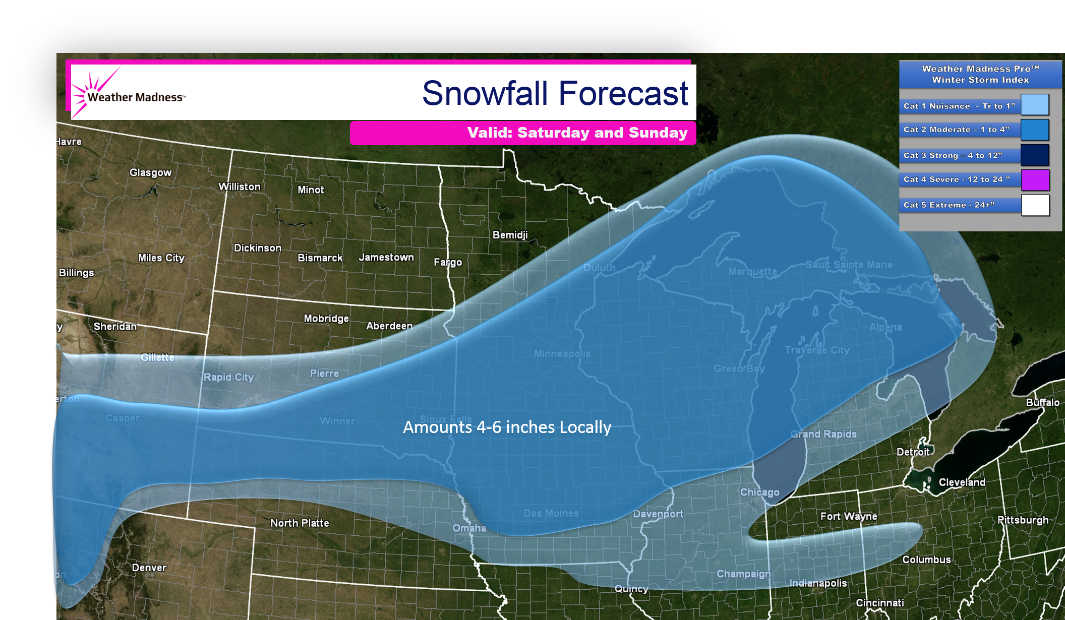 Updated Snow Map for the Midwest Snow