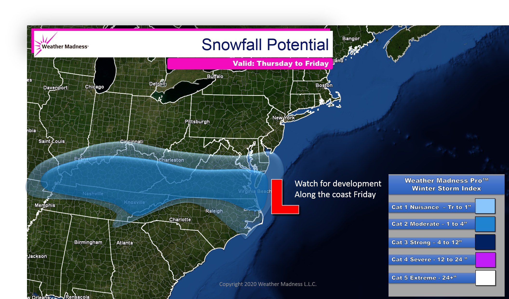 Snow Map for the Storm Thursday to Friday