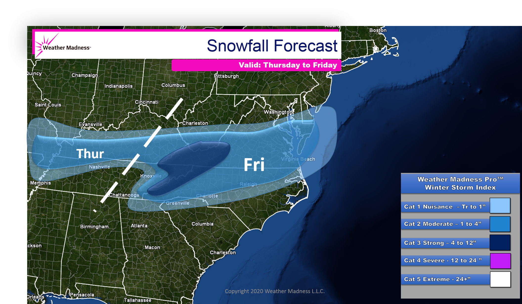 Snow Map for the Southern Storm Thursday and Friday. Winter Index 2-3