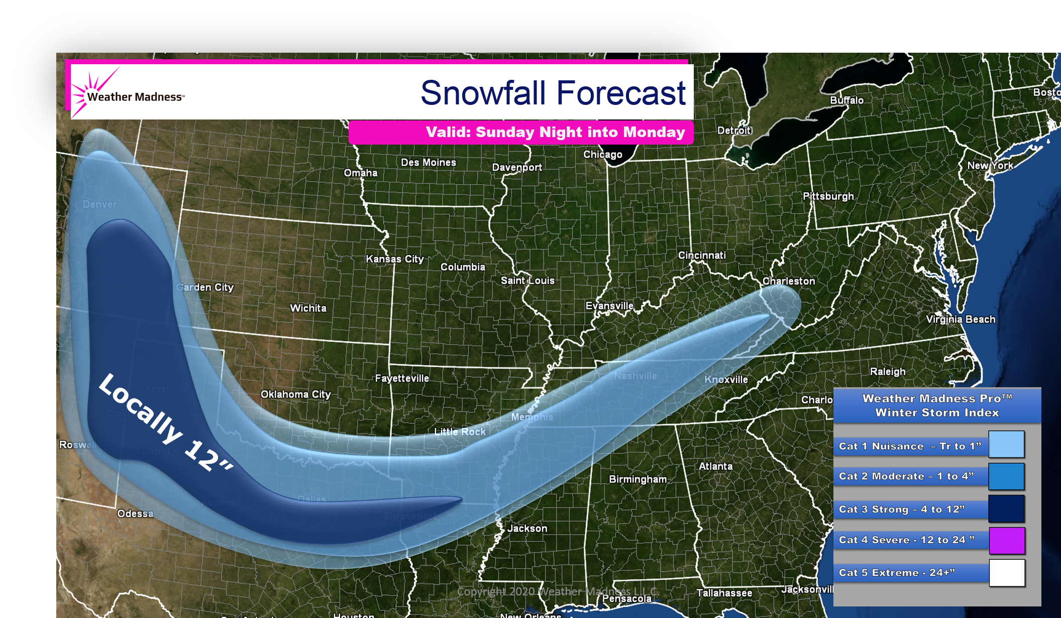 Texas and Louisiana Snow Event could Reach a Winter Index 3.