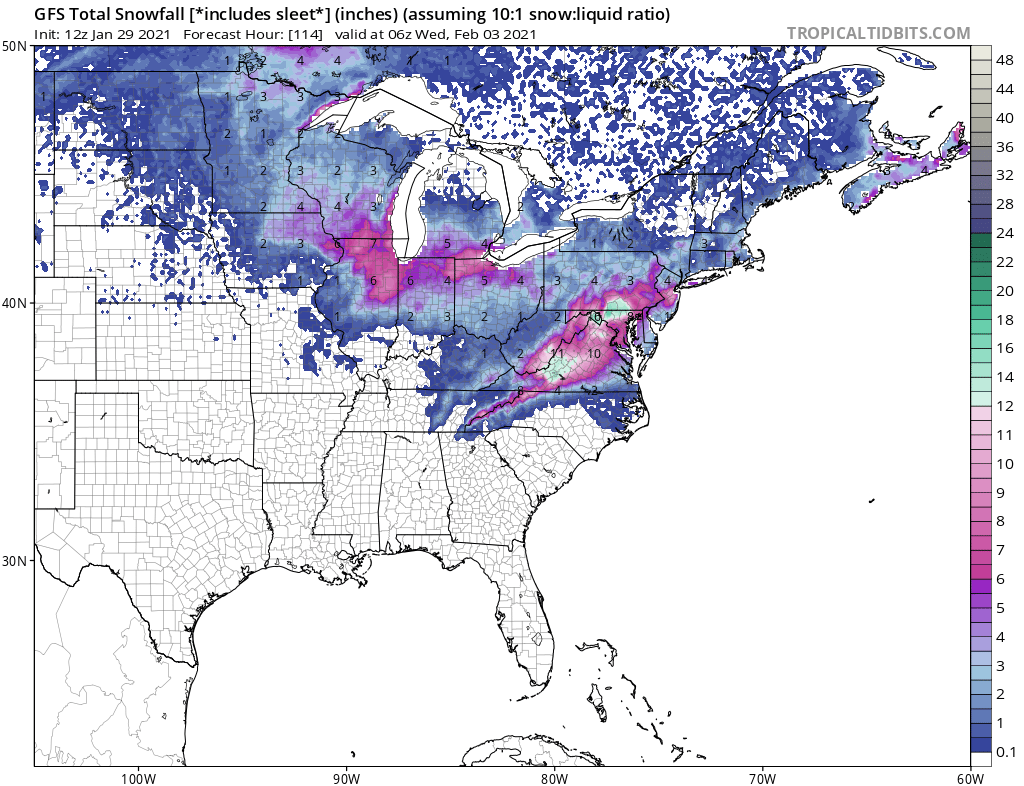 Snow Map Updated. Some Changes Based on Slightly South Movement