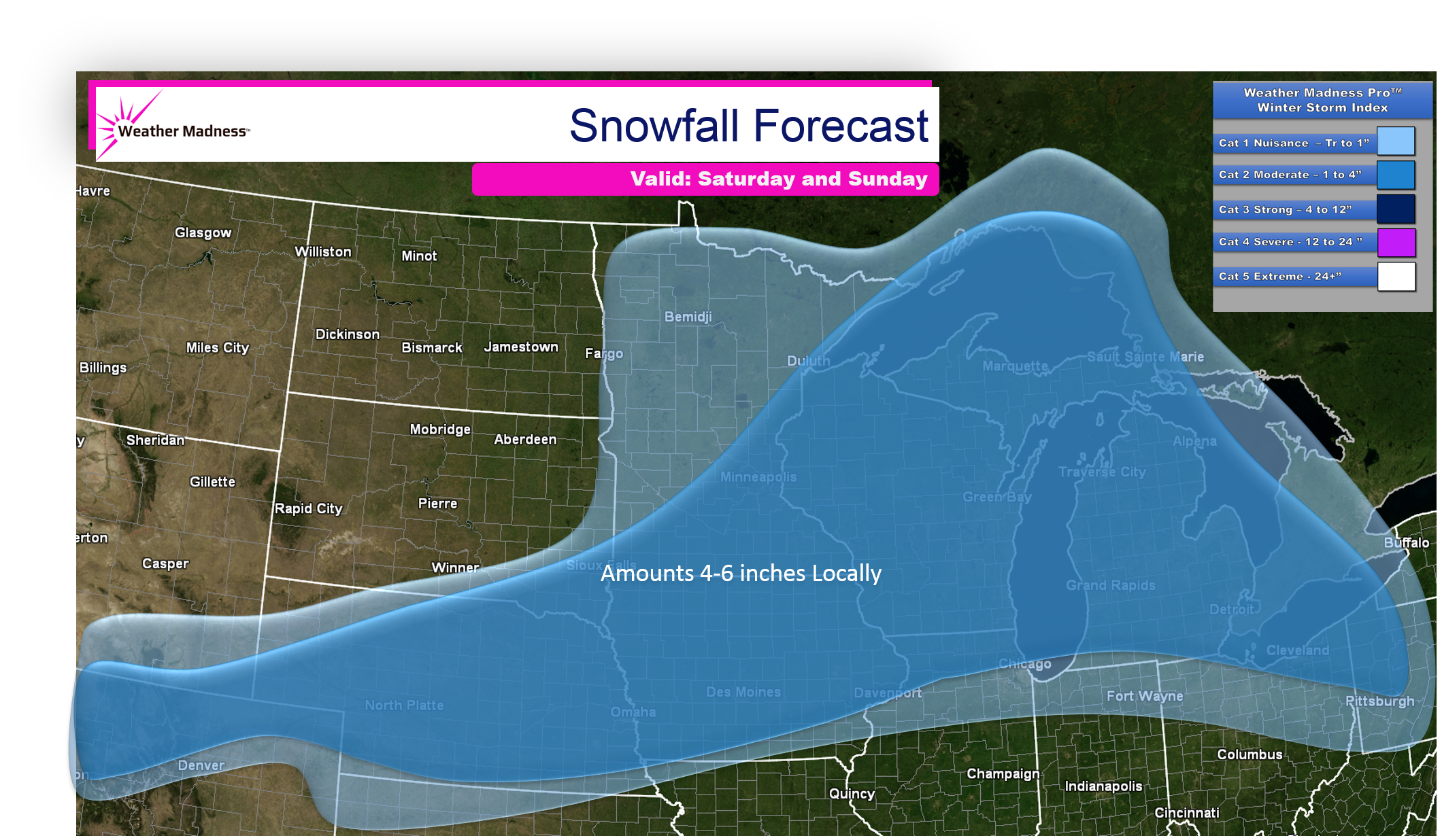 First Snow Event this Weekend Plains and Great Lakes Snow Map
