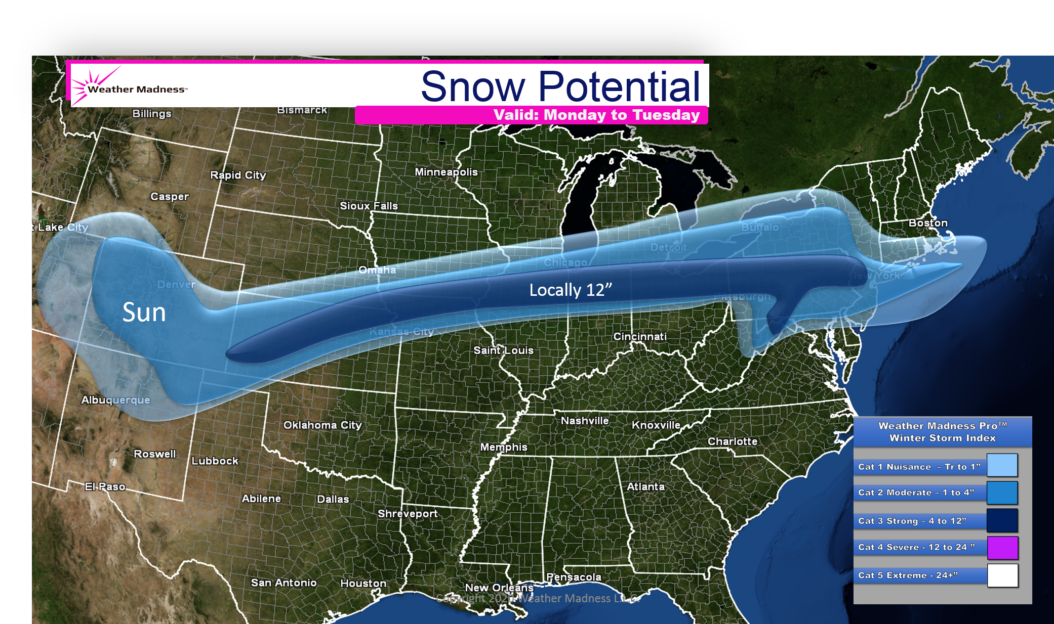 Snow Map for the Snowstorm Monday and Tuesday