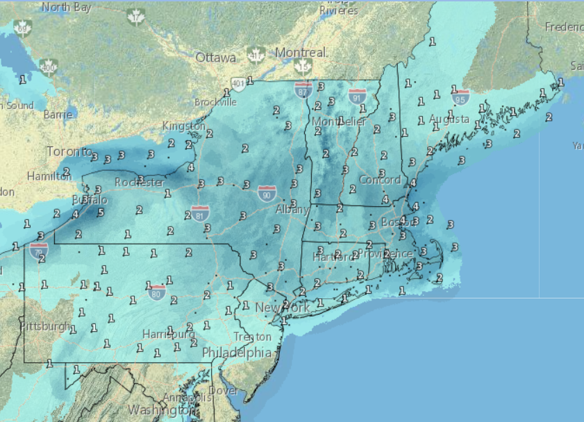 Snow and Wintry Mix Virginia to New England Today into this Evening