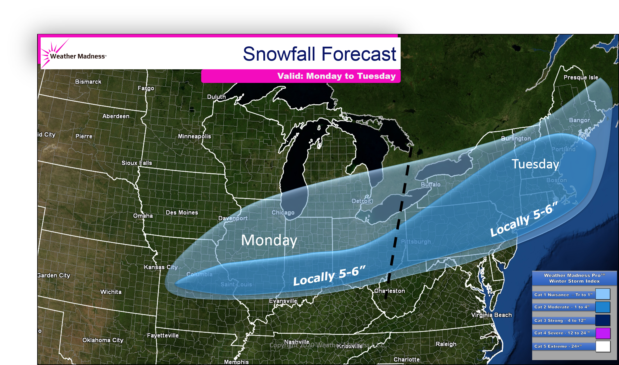 Updated Snow Map for Snow Today to Tuesday