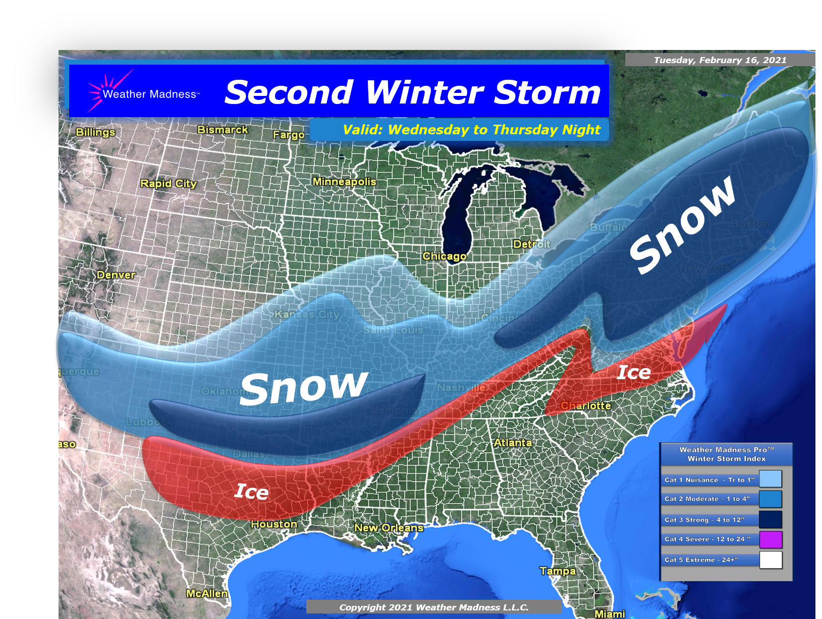 Snow Map for the Storm Wednesday to Thursday Night