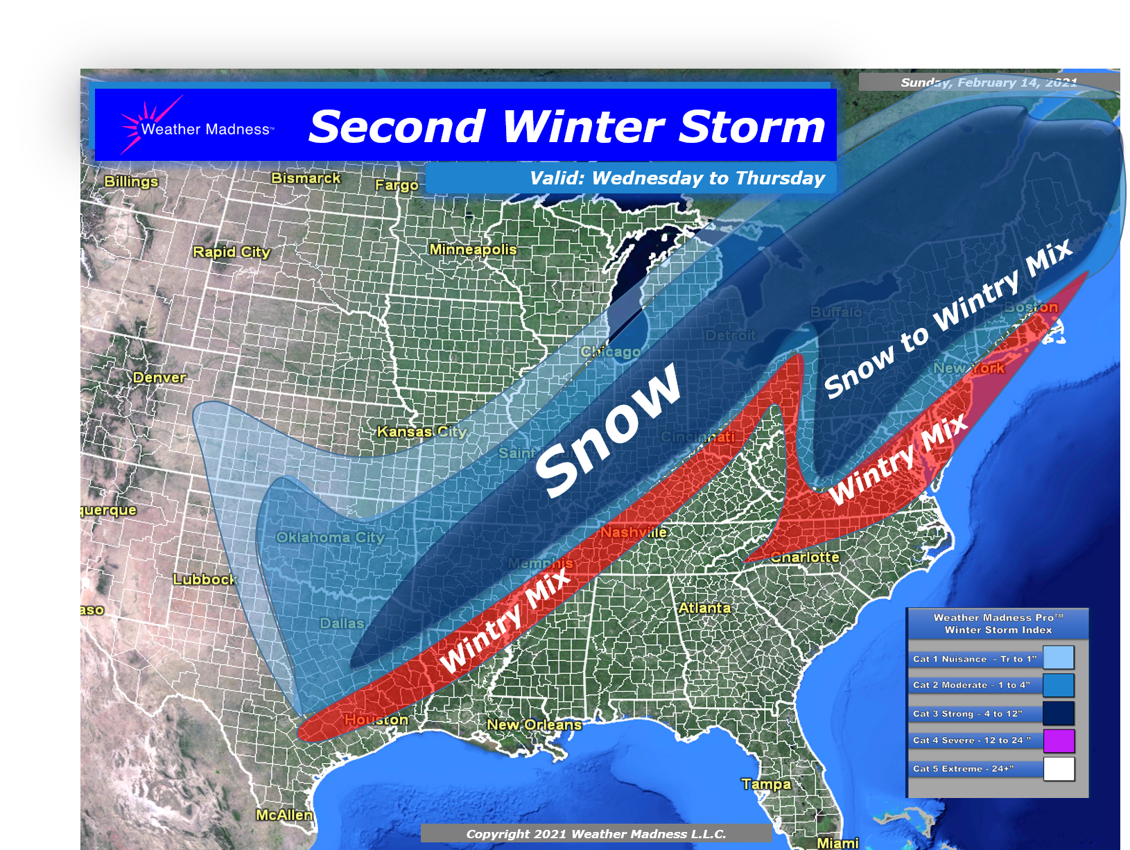 Snow Map for the Storm Wednesday to Thursday