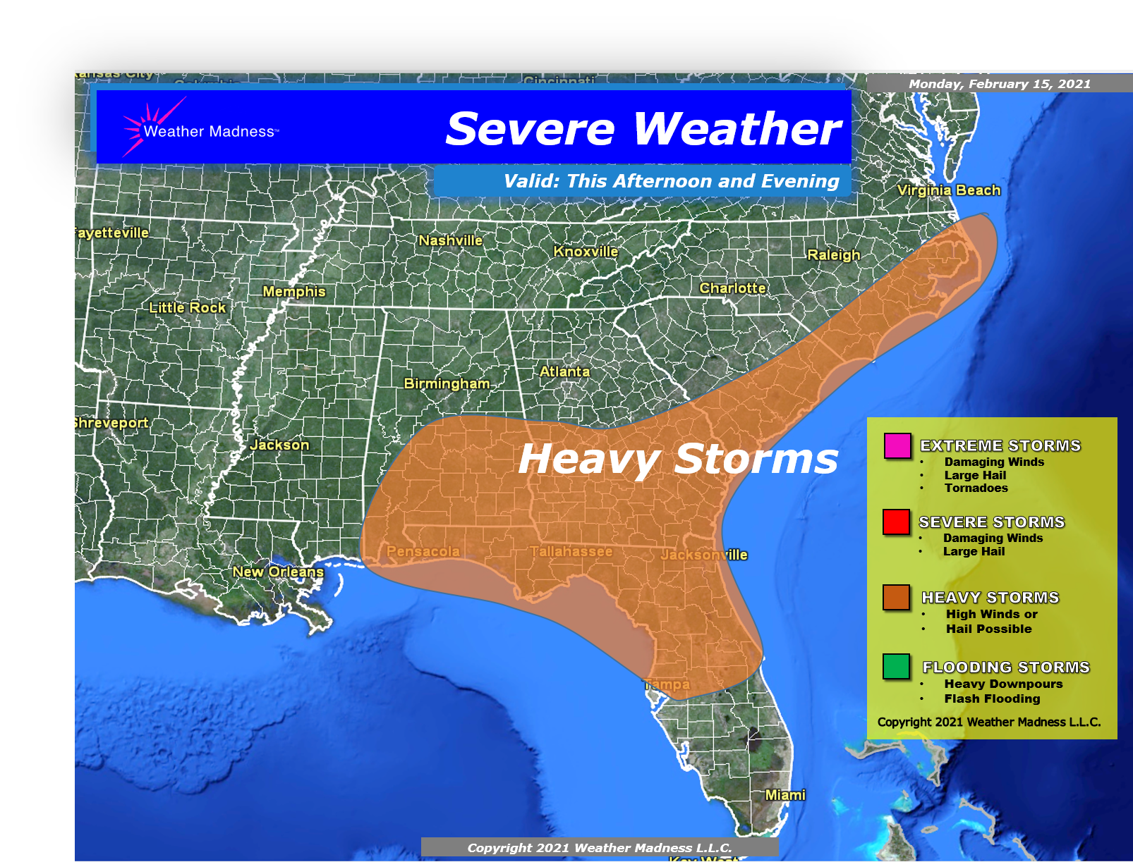 Heavy Thunderstorms for the Southeast