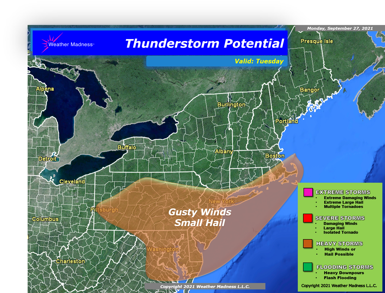 Heavy Thunderstorms May Bring Gusty Winds and Small Hail Tuesday