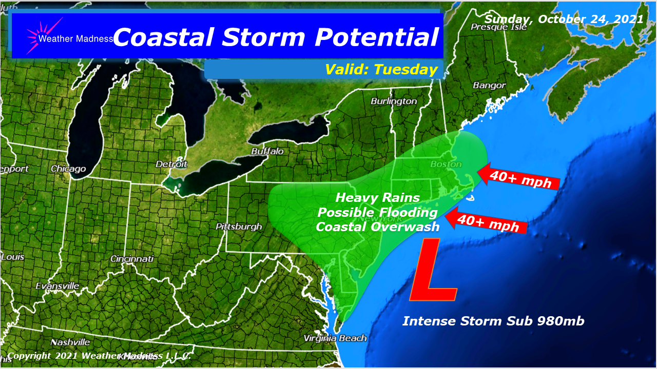 Coastal Storm will Lash New England into New Jersey with Heavy Rains and Gale Force Winds